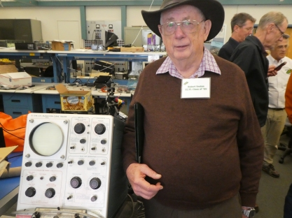 Here I am with a Tektronix Curve Tracer that I used when I was there.